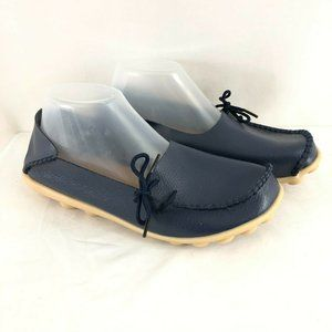 Womens Pebbled Leather Loafers Flats Slip On Bow